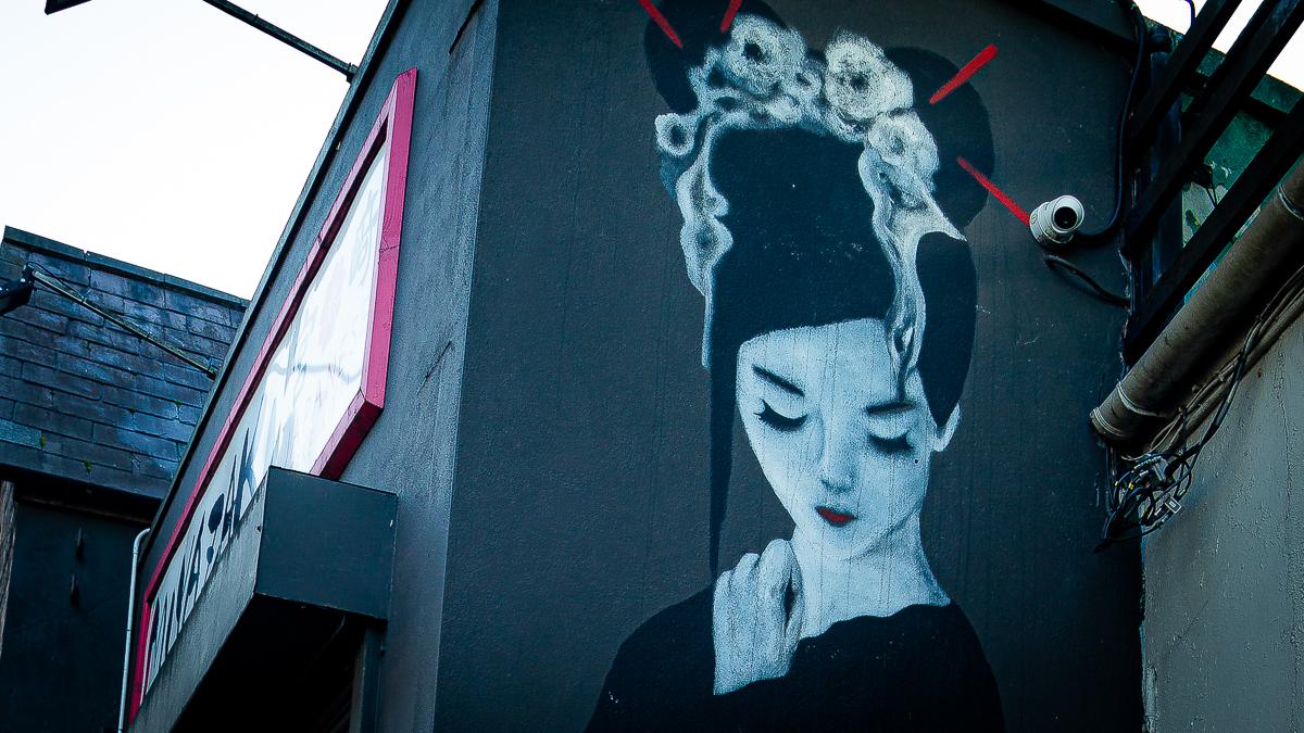 A Geisha Girl mural on the side of the Japanese restaurant Miyazaki, Cork City