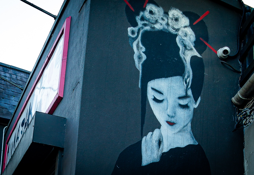 A Geisha Girl mural on the side of the Japanese restaurant Miyazaki, Cork City