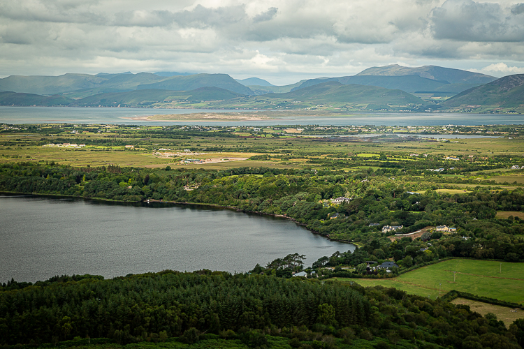 looking in a northerly direction with the eastern tip of Lough Carragh in the foreground and Inch strand and the Dingle Peninsula in the background