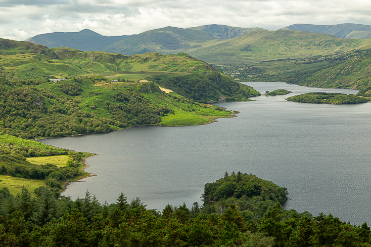 The hills around Lough Carragh provide an array of greens