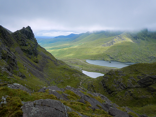 Looking back to the twin loughs in the Hag's Glen