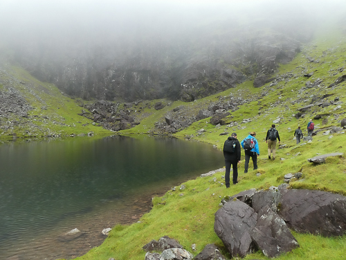 Ireland's highest lake, buttressed by steep sides