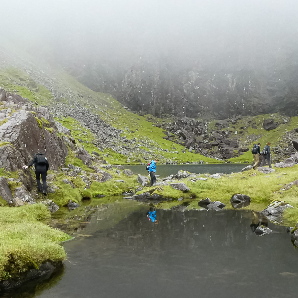 The bowl of Lough Cummeenoughter, Ireland's highest lake