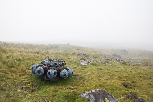 The engine from a German Airplane of World War II lies on the slopes of Mount Brandon