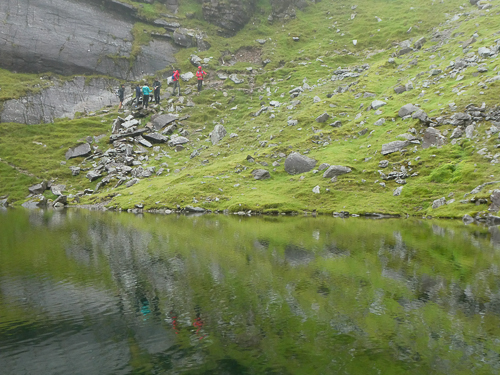 The climb up Raven's Gully (Brother O'Shea's) starts from Ireland's highest lough.