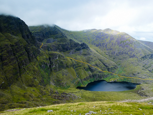 The route up to Carrauntoohil highlighted by a yellow line