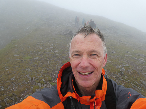 Having climbed out of Raven's Gully the walk to the summit awaits in dense cloud