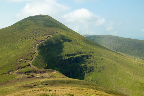 The dramatic scar on the western edge of Galtymore becomes more apparent as one descends Galtybeg
